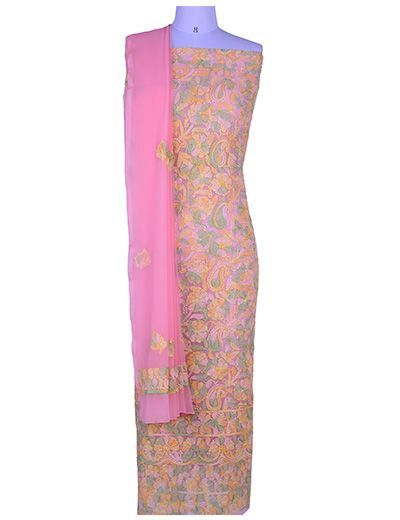 Rohia by Chhangamal Hand Embroidered Unstiched Georgette Multi Peach Chikan Suit Length(Kurta 2.5 M, Bottom 2 M, Dupatta 2.15 M)
