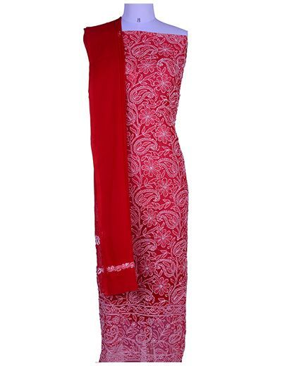 Rohia by Chhangamal Hand Embroidered Red Georgette Unstiched Chikan Suit Length(Kurta 2.5 M, Bottom 2 M, Dupatta 2.15 M)
