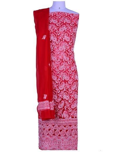 Rohia von Chhangamal Handgestickter, unstiched Georgette Red Chikan Anzuglänge (Kurta 2,5 M, Unterseite 2 M, Dupatta 2,15 M)