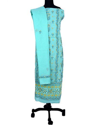 Rohia by Chhangamal Hand Embroidered Cotton Sea Green Chikan Suit Length(Kurta 2.5 M, Bottom 2 M, Dupatta 2.15 M)