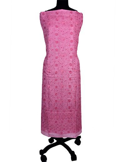 Rohia by Chhangamal Hand Embroidered Tusser Silk Pink Chikan Suit Length(Kurta 2.5 M, Bottom 2 M, Dupatta 2.15 M)