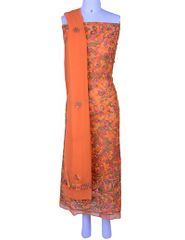Rohia by Chhangamal Hand Embroidered Unstiched Georgette Multi Orange Chikan Suit Length(Kurta 2.5 M, Bottom 2 M, Dupatta 2.15 M)