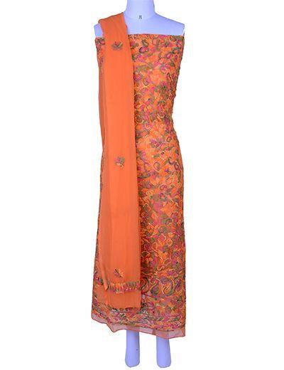 Rohia by Chhangamal Hand Embroidered Unstiched Georgette Multi Orange Chikan Suit Length(Kurta 2.5 M, Bottom 2 M, Dupatta 2.15 M)