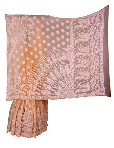 Rohia by Chhangamal Hand Embroidered Brown Faux Georgette Chikan Saree.