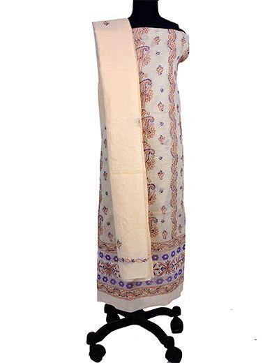 Rohia by Chhangamal Hand Embroidered Cotton Beige Chikan Suit Length(Kurta 2.5 M, Bottom 2 M, Dupatta 2.15 M)
