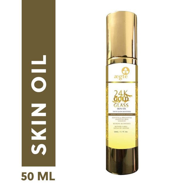 Aegte 24 k Gold Glass Skin Oil, With Glow Booster, contains goodness of Saffron, Jatamansi & Sandalwood,50 ML