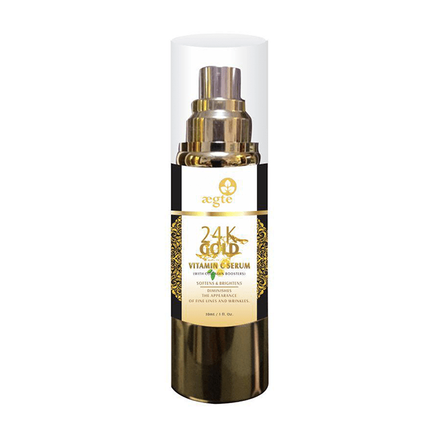 Aegte 24K Gold Vitamin C Serum with Collagen Booster, Soften & Brightens Skin, 30 ML