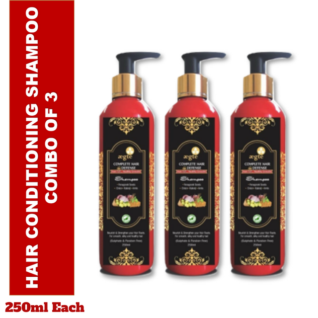 Aegte Natural Hair Conditioning Shampoo Enriched with Red Onion, Fenugreek Seeds, Kalonji & Amla, 250 ml Each- Pack of 3