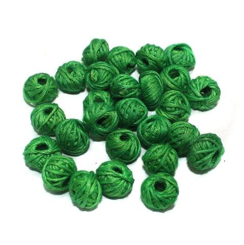 100 Pcs. Cotton Thread Round Beads Green 12x8 mm