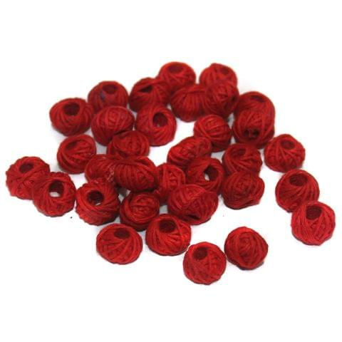 100 Pcs. Cotton Thread Round Beads Red 12x8 mm