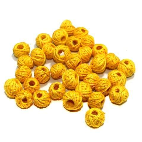 100 Pcs. Cotton Thread Round Beads Yellow 12x8 mm