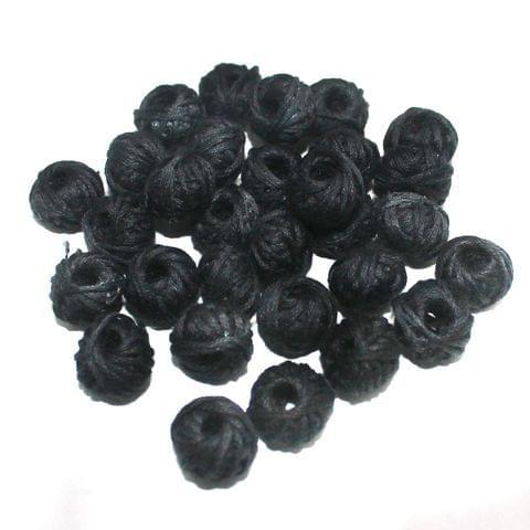 100 Pcs. Cotton Thread Round Beads Black 12x8 mm