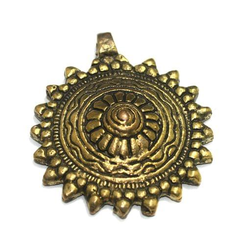 Antique Golden Finish Metal Pendant 2 Inch