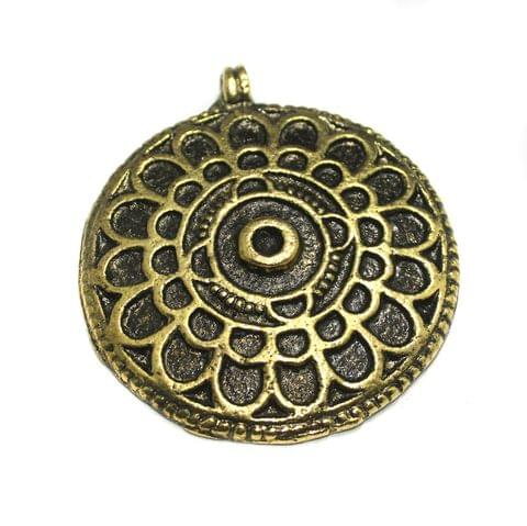 Antique Golden Finish Metal Pendant 2.5 Inch