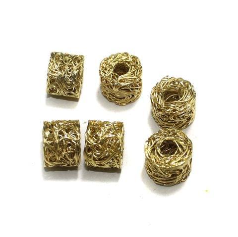 20 Pcs Wire Mesh Beads Golden 17x14mm