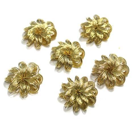 20 Pcs Wire Mesh Beads Golden 25x8mm
