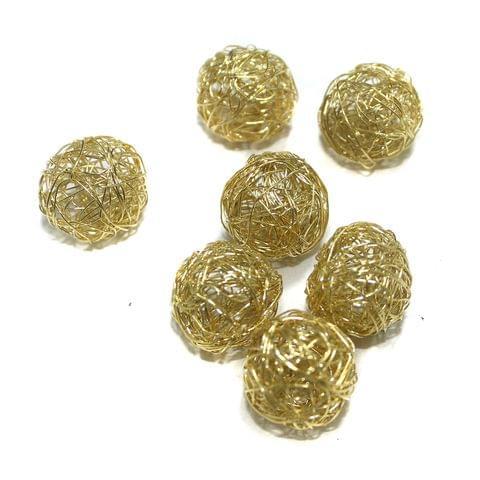 20 Pcs Wire Mesh Beads Golden 20mm