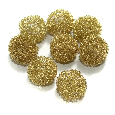 20 Pcs Wire Mesh Beads Golden 20mm