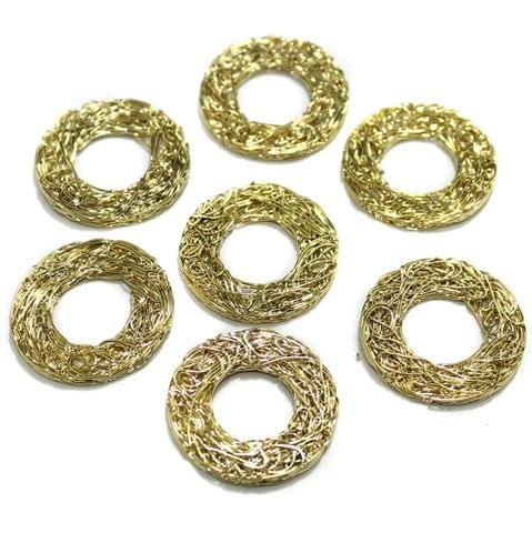20 Pcs Wire Mesh Beads Golden 30mm