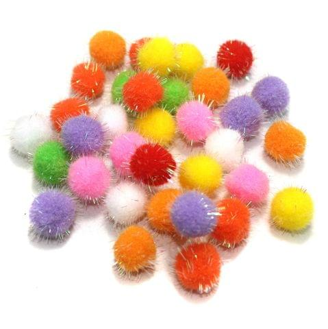 50 Pcs Rainbow Pom Pom Balls Assorted 15 mm
