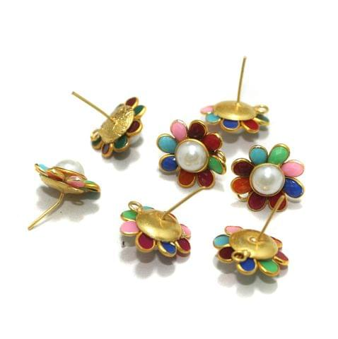 5 Pairs Single Layer Pacchi Earing Tops Mutli Color 18mm