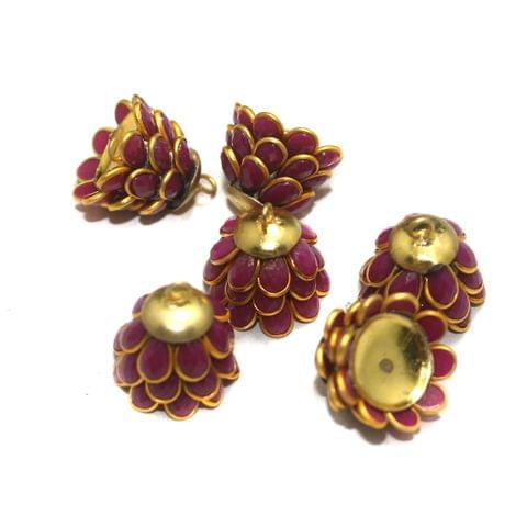 5 Pairs Pacchi Jhumka Base Red 15x16mm