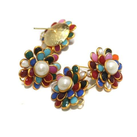 5 Pairs Double Layer Pacchi Earing Tops Multi Color 22mm