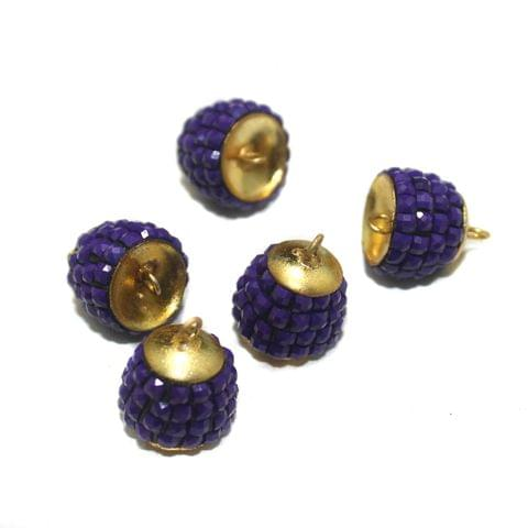 5 Pairs Pacchi Jhumka Base Purple 13x14mm