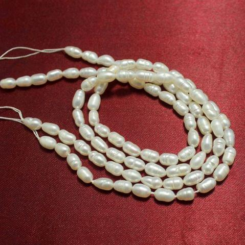 2 Strings Water Pearl Beads 7x5mm Off White