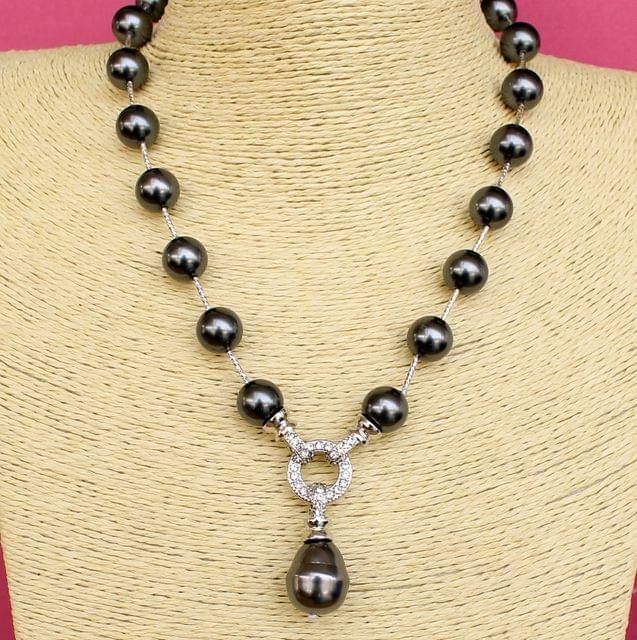 CZ Shell Pearl Beaded Premium Necklace