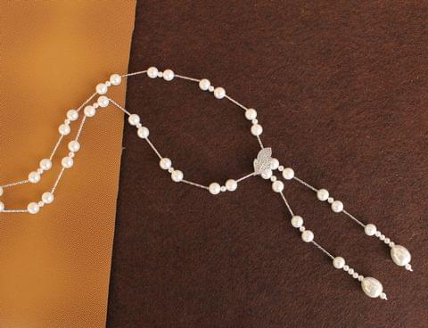 CZ Fresh Water Shell Pearl Beaded Premium Necklace