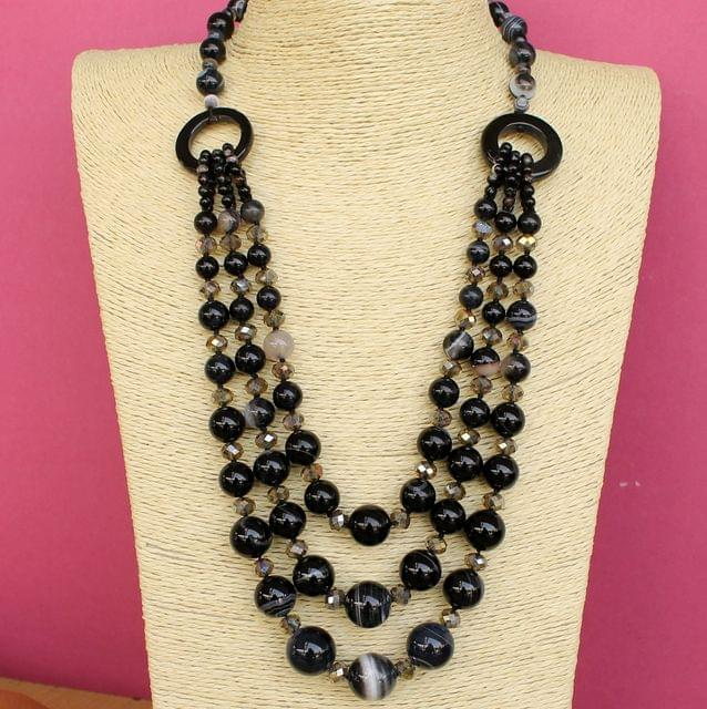 Onyx Faceted 3 Layer Beaded Premium Black Necklace Set