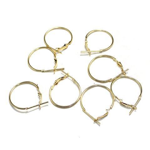 5 Pairs Metal Earrings Round Hoop 25mm