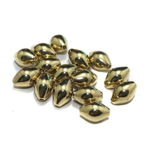 50 Pcs CCB Oval Beads Golden 13x9 mm