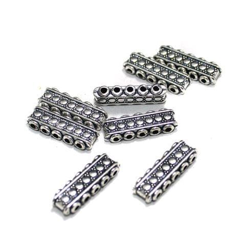 20 Pcs German Silver 5 Strands Connectors Silver 21x6mm