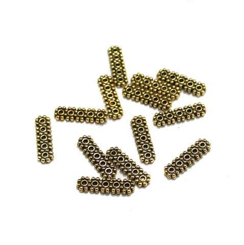 50 Pcs German Silver 5 Strands Connectors Golden 15x3mm
