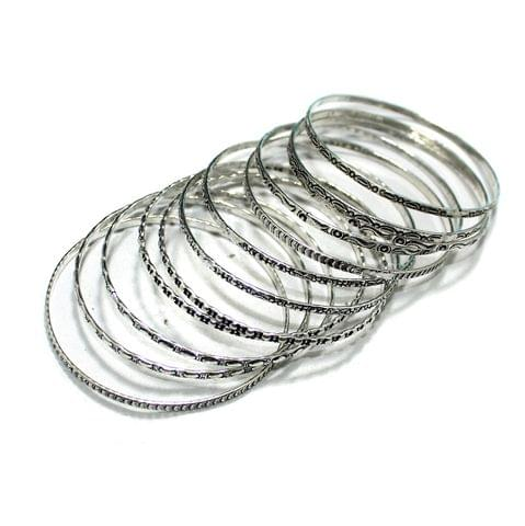 12 Pcs Bangle Base Silver 2`4 Inch