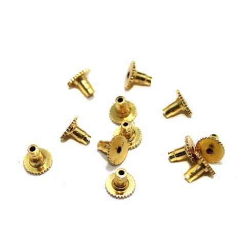 20 Pcs Brass Earrings Post Back Push Golden 8mm