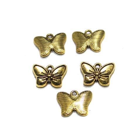 20 Pcs German Silver Butterfly Charms Golden 16x11mm