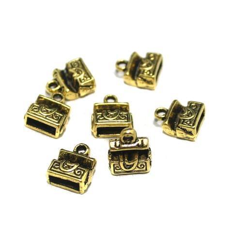 20 Pcs German Silver Treasure Box Charms 8x6mm