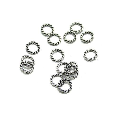 100 Pcs German Silver Twisty Rings Silver 6mm