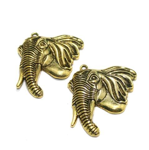 2 Pcs German Silver Elephant Pendants Golden