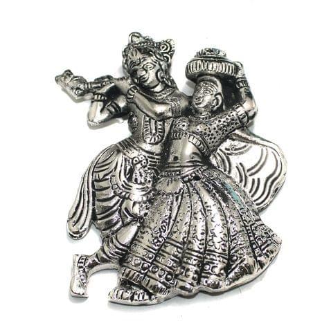 1 Pc German Silver Lord Radha Krishana Pendant Silver