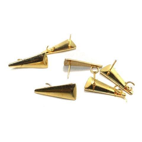 20 Pcs Earrings Components Golden 27x11mm