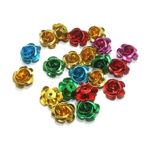 100 Pcs Multi Colored Flower Beads 14mm