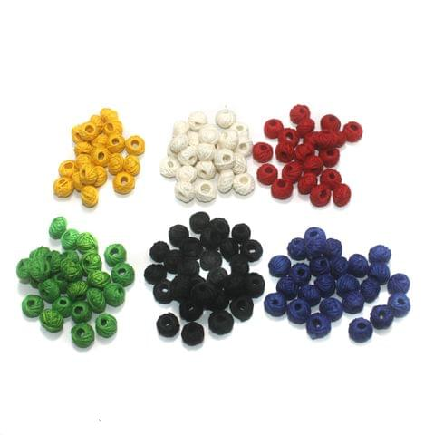 150 Pcs. Cotton Thread Round Beads 6 Color Combo 12x8 mm