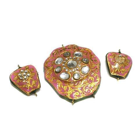 Pink Kundan Pendant Set 55x48