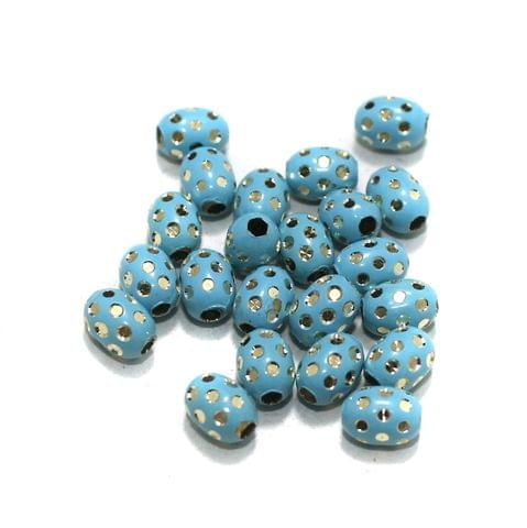 Turquoise Brass Beads Oval 100 Pcs, 8x6mm