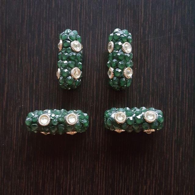 4pcs, Green, Takkar bead Spacers, 12x30mm