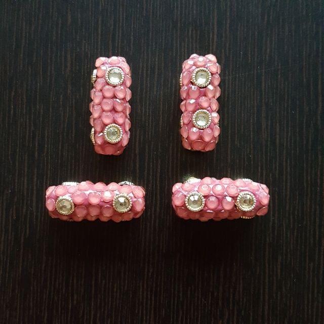 4pcs, Pink, Takkar bead Spacers, 12x30mm